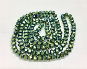 Metallic Green rondelles, 2x3mm, (145-150) beads/faceted beads, 2x3 mm roundelles, crystal roundelles, glass roundelles, roundelle beads