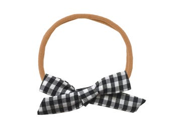 Schoolgirl Bow or Pigtail Set /// Black Gingham