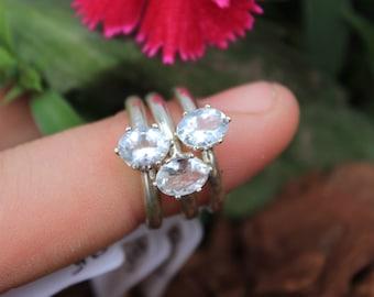 Sterling Silver Ring, Aquamarine Ring, Gemstone Ring, Crystal, Size l 1/2, Size 6, March Birthstone, March Jewellery, Aquamarine Jewellery