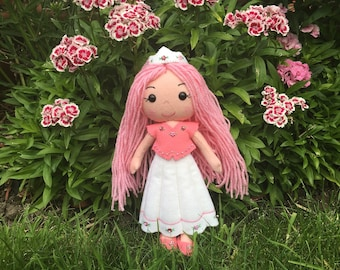 Princess Doll Handmade Ragdoll OOAK Felt Doll Queen Fairy Cute