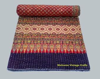 queen size indigo block print kantha quilt handblock kantha king size quilt cotton blanket kantha throw - King Size Blanket