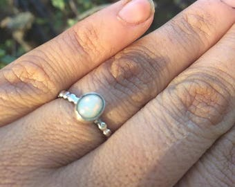 White Opal Ring / Sterling Silver Ring / Silver Opal Ring / Little Opal Ring / Bubble Band Ring / Bubble Ring Band / Opal Stack Ring / Vegan