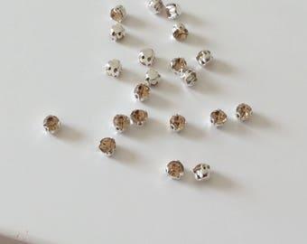 Set of 15 beige 5 mm sertisse Crystal rhinestones sewing