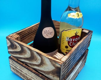 Table decorations, Birthday box, bottle box, gift box, crate, storage box, wooden crate, little things, cutlery basket, gift, wall shelf
