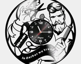 BARBER SHOP CLOCK Vinyl Record Clock In Barber We Trust Wall Decor Barber Shop Art  Decoration Barber Shop Decor Wall Clock Barber Gifts