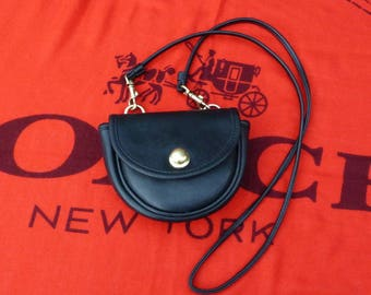 Vintage Coach Mini Belt Bag Style 9826 - Black Leather Crossbody Also Hooks on Belt - Cute Cookie-Shaped Bag!