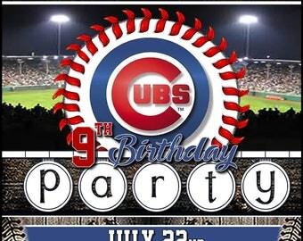Custom Chicago Cubs Standard Logo 5x7 Printable Birthday Party Invitation Digital Download