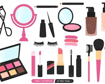 Makeup Clipart, Beauty Clipart, Feminine Clipart, Lipstick Clipart - Commercial Use, Instant Download