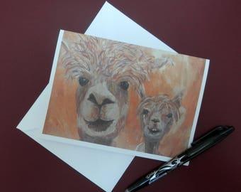 Alpaca art animal card - wedding card - engagement card - anniversary card -  alpaca blank card - llama love greeting card -