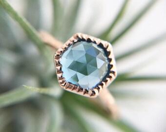 London Blue Topaz Rose Gold Ring