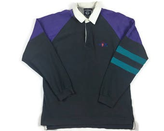 Dockers Rugby Shirt (Sz XL) Dockers Polo Shirt Dockers Rowing Shirt Collared Polo Dockers Long Sleeve Polo 90s Colors