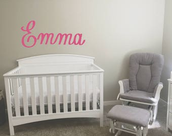 Nursery Crib Name Above Crib Lettering - 12 Font Choices - 20 Color Options