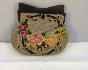Vintage clutch bag needlepoint 20s 30s 40s colourful retro boho old fashioned