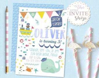 Boys Whale Party Digital Invite | FREE back side | Cute Sea Beach Water Ocean Invite | Birthday Invitation | Printable Personalised Download