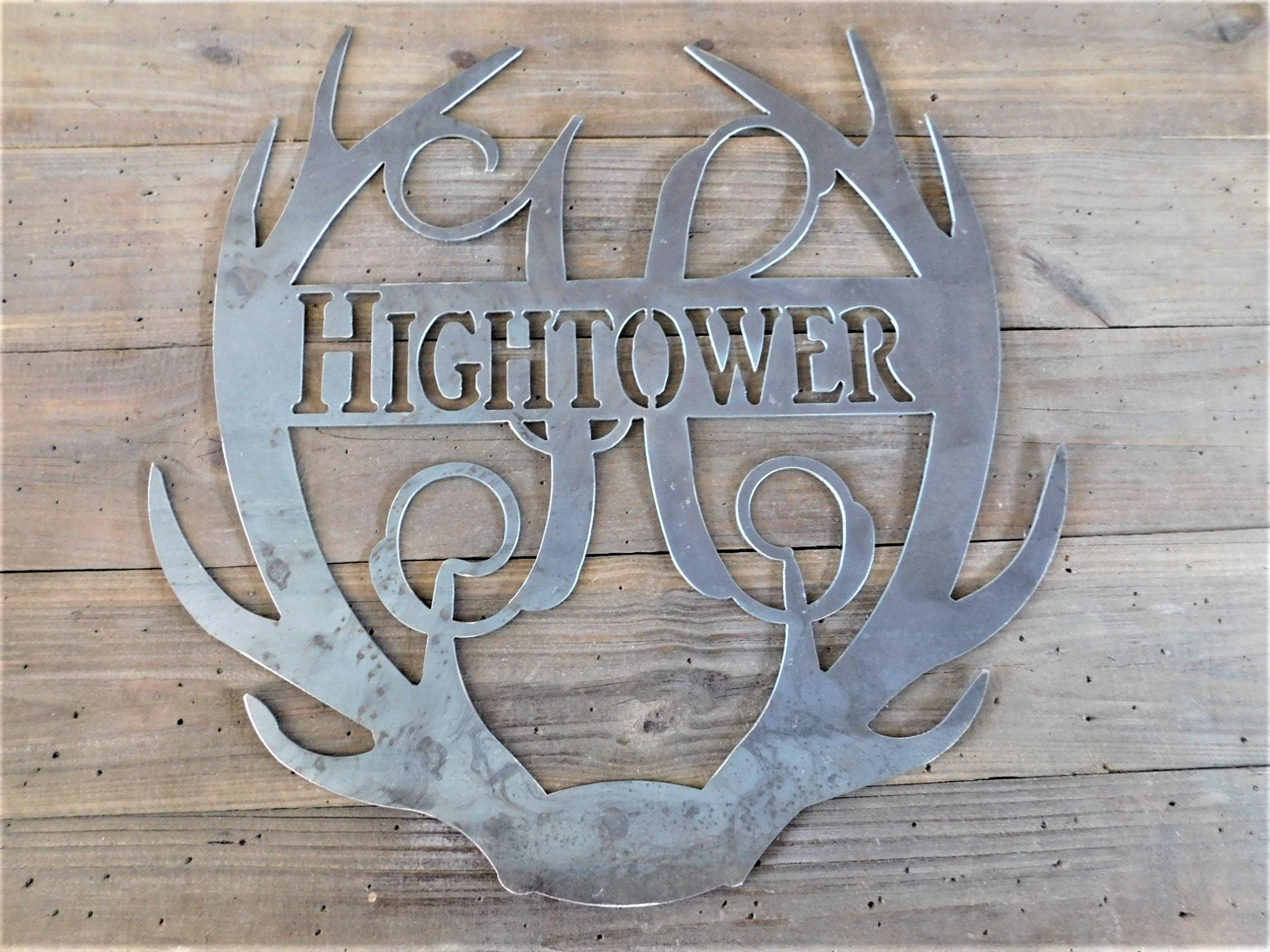 Rustic Monogram Wall Decor : Metal wall decor door hanger farm house