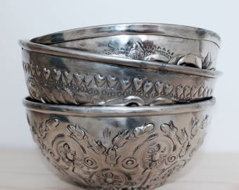 Vintage Hammam Moroccan Bowl Silver 3 sizes