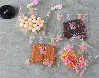 15 self-adhesive bags pink flower 7 x 7 cm + 3 cm flap pockets gift cellophane bags