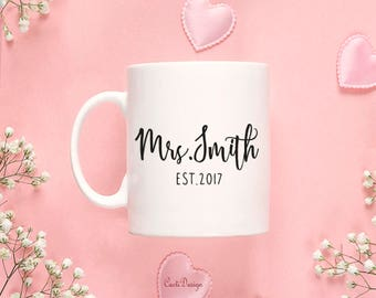 Coffee Mug floral Engagement Gift For Her Engagement Gift For Bestfriend Bridal Shower Gift Last Name Coffee Mug 133