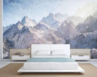 Mountain Wall Mural misty mountain wallpaper foggy mountain silhouette wall mural