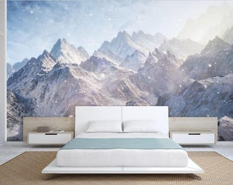Mountain wallpaper, snow wall mural, Foggy mountain, self-adhesive vinly, mountains wall mural, mountain wall mural, mountain fog wallpaper