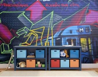 graffiti train, graffiti art mural, graffiti wall mural, self-adhesive graffiti, graffiti wall decal, graffiti mural, graffiti wall decal,