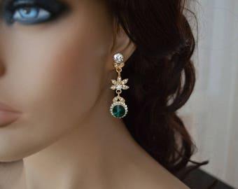 Earrings,Gold earrings,Swarovski earrings,