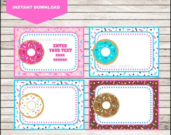 Donut Printable Cards, tags, book labels, stickers, kids cards, gift tags, labeling, scrapbooking EDITABLE INSTANT DOWNLOAD