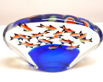 School OF Fish Paperweight-Art Glass