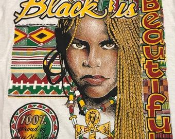 Vintage 1993' Black is Beautiful T-shirt Large Black heritage shirt reggae colors Spike lee movie tee Unisex Rare