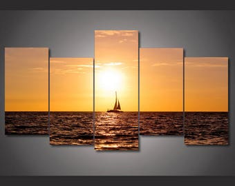 Sunset Sailing Canvas Art, Sunset Sailing Wall Art, Sunset Sailing Large Canvas Print, Sunset Sailing Wall Decor, Stretched Canvas Art