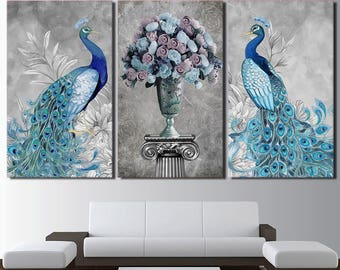 Incroyable Peacock Canvas Art, Peacock Wall Art, Peacock Wall Decor, Peacockk And  Flowers Classic