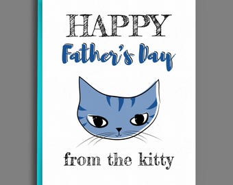 Fathers Day Card from Cat - Handmade Greeting Card for Cat Dads - Blue Tabby Cat Illustration for Guys and Men Who Love Cats