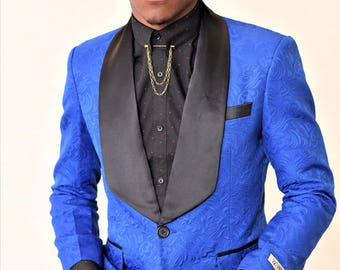 Floral Blue Groom Suit Blazer