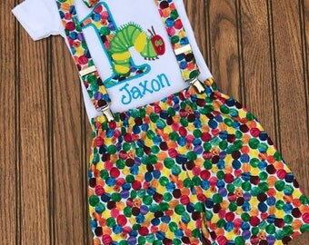 The very hungry caterpillar cake smash birthday outfit