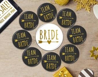 Team Bride Buttons, Team Bride Badges, Pins, Bachelorette Party Decor, Bachelorette Party Buttons, Bridal Party Gift, Arrow, Bridal Shower