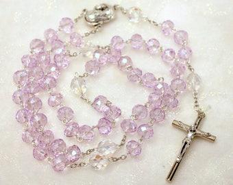 Lavender Pink Crystal Rosary