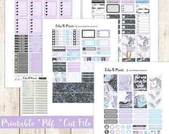Hologlam School Printable Planner Stickers/Weekly Kit/For Use with Erin Condren/Cutfiles Fall September Unicorn Glitter Sparkle Rainbow Back
