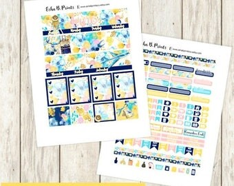 Adventure Awaits LIGHT Printable Planner Stickers/Monthly Kit/For Use with Erin Condren/Cutfiles Circut June Summer Glam Vacation Travel