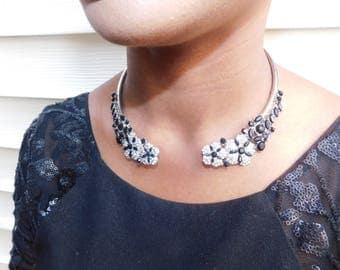 Open collar charm choker