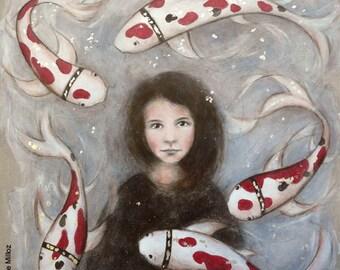 "large format ""Mute"" (31 x 31 "") 80x80cm painting girl, Koi Carp"