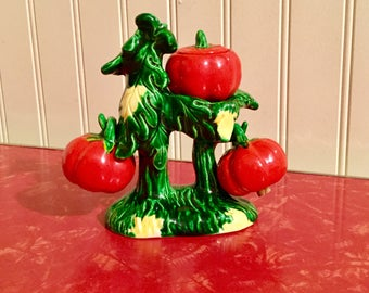 Antique Rare Porcelain Tomato Bush With Tomato Salt And Pepper Shakers With a Bonus Tomato Bowl