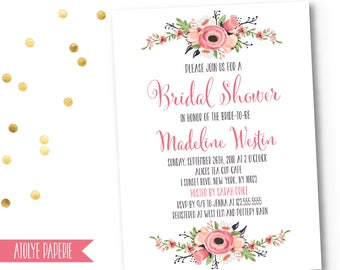 Bridal Shower Invitation, Bridal Shower Invite, Blush floral Wedding Shower Invitation, Blush, rustic floral Wedding Shower invite, boho, 12