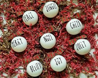 FULL SET, Farmhouse Style Christmas Ornaments, Rustic Christmas Ornament, Christmas Ornaments, White Christmas Ornaments, Quote Christmas