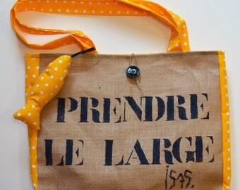"""Tote Bag, tote bag, yellow polka dots, """"Take the Large"""", Burlap, Sardine"""