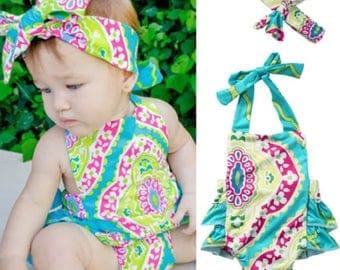 Baby girl romper - fun and bright!