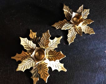 Vintage Brass Candle Holders | Christmas Holly Leaf | Candlesticks | Holiday Decor | Set Of 2