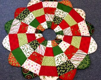Quilted Christmas Tree Skirt Patchwork Small 40 Inch