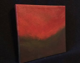 Ambient Painting 2017 #36 (Strebel) - square acrylic on canvas red dark brown landscape non-objective