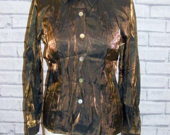 Size 10 vintage 90s long sleeve semi fitted party shirt shimmery fabric (HX87)