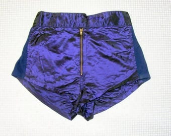 Size 8-10 vintage 70s high waist disco hotpant shorts shiny purple tonic (HY61)